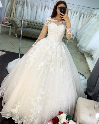Princess Long Sleeves Tulle Wedding Dress with Appliques_3