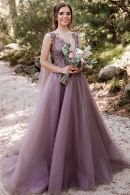 Beautiful long V neckline purple Prom dresses with glitter_1