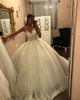 Gorgeous ball gown white princess Wedding dresses sleeveless_2