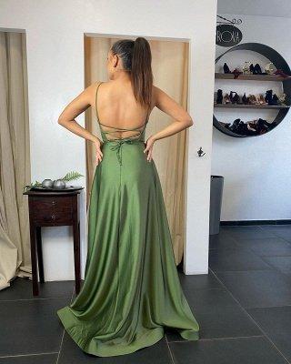 Sexy Spaghetti Straps Satin Ruffles Slit Prom Dress_2