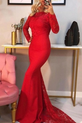 Elegant Mermaid Long Sleeves Red Prom Dress with Lace