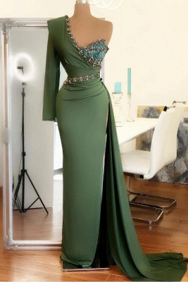 Sexy Asymmetrical Chiffon Beadings Sexy Slit Prom Dress