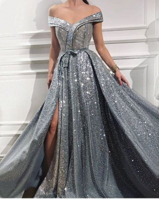 Floor Length Long Off the Shoulder Sequin Prom Dresses Formal Gowns