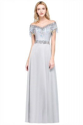 A-line Jewel Short Sleeves Sequins Evening Dress with Tassels On Sale_1