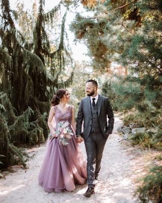 Beautiful long V neckline purple Prom dresses with glitter_4