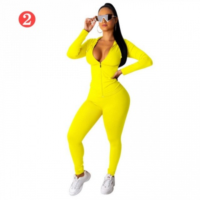 New 2021 Two Pieces Outfits Women Bodycon Solid Hoodie Long Sleeve Jacket & Long Legging Sweatsuit_2