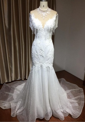 Shining Sleeveless Bronzing Mermaid Wedding Dresses With Tassel