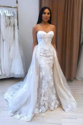 A-Line Sweetheart Tulle Lace Wedding Dress