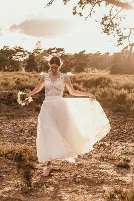 Chic A-Line Chiffon Lace Wedding Dress On Sale