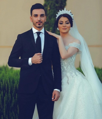 Ball Gown Off-Shoulder Tulle Lace Wedding Dress_2