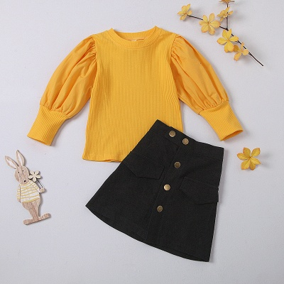 Girls Spring 2 Pcs Skirt Dress Outfit Set Kid Girl Clothes Long Sleeve Bubble Sleeve Tops & Button Skirt Fashion Clothing Set_3