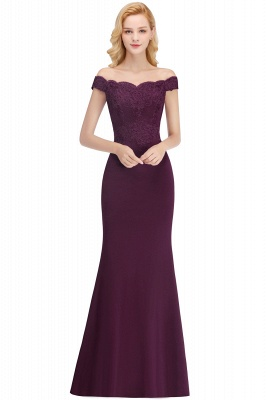 Cheap Mermaid Off-the-shoulder Long Appliques Satin Bridesmaid Dress in Stock_4