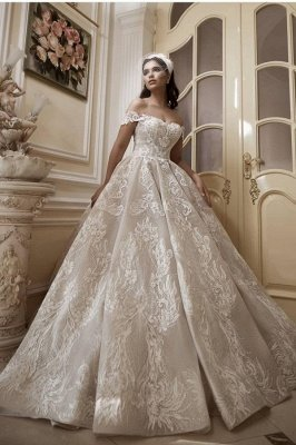 Glamorous Off-Shoulder Tulle Lace Wdding Dress