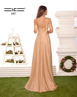 Sexy Spaghetti Straps V-neck Prom Dress with Ruffles_2