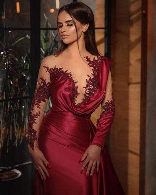 Sexy Mermaid Long Sleeves Burgundy Prom Dress with Ruffles_2