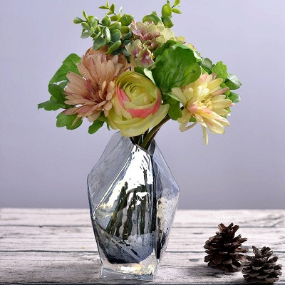 Diamond Bottle Flower Vase Creative Contracted Glass Furnishing Articles Personality Shaped Glass Bottles Modern Decoration Art