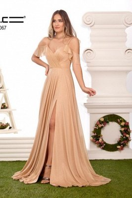 Sexy Spaghetti Straps V-neck Prom Dress with Ruffles