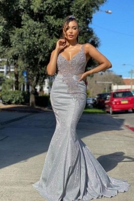 Sparkly Sequined Mermaidl Straps Prom Dress