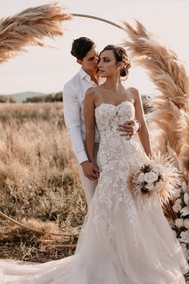 Simple Strapless Sweetheart Tulle Lace Wedding Dress