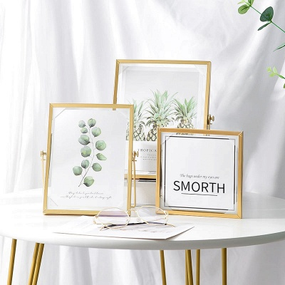 Simple Geometric Metal Three-dimensional Glass Photo Frame Golden Wrought Iron Creative Home Decoration Frame_5