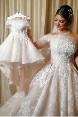 Modern Off-Shoulder Tulle Lace Sleeveless Wedding Dress