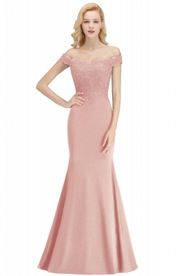 Cheap Mermaid Off-the-shoulder Long Appliques Satin Bridesmaid Dress in Stock_3