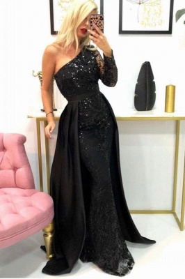 One-Shoulder Mermaid Lace Prom Dress with Beadings