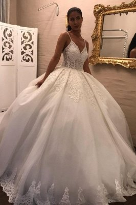 Gorgeous ball gown white princess Wedding dresses sleeveless_1