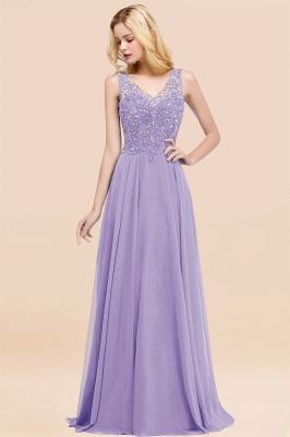 Straps V Neck  Applique Crystal Sequin Floor Length A Line Prom Dresses_21