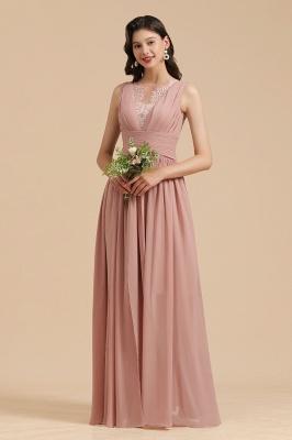 Elegant Sleevele Dusty Pink Chiffon Bridesmaid Dresses_1