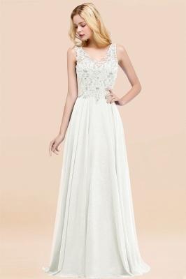 Straps V Neck  Applique Crystal Sequin Floor Length A Line Prom Dresses_2