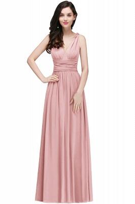 V-Neck Burgundy Ruched  A-line Evening Dresses_2