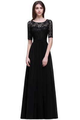 Cheap Half-Sleeve Lace Long Chiffon Evening Dress in Stock_7