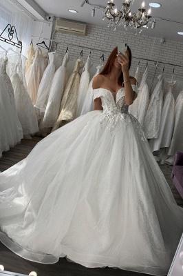 Gorgeous Off Shoulder Floral Lace White Bridal Gowns_1