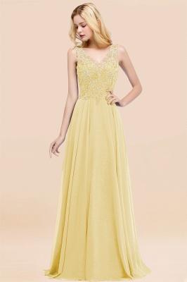 Straps V Neck  Applique Crystal Sequin Floor Length A Line Prom Dresses_18