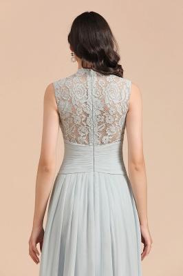 Floor Length Chiffon High Neck Lace Bridesmaid Dresses_9