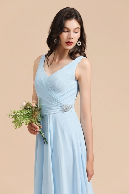 Sky Blue V-Neck Sleevels Ruffle Chiffon Bridesmaid Dress_7
