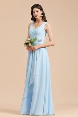 Sky Blue V-Neck Sleevels Ruffle Chiffon Bridesmaid Dress_6