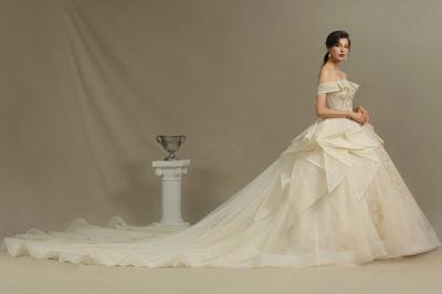 Gorgeous Off-the-Shoulder Ivory Wedding Dresses Floral Appliques Ball Gown Bridal Dress_5