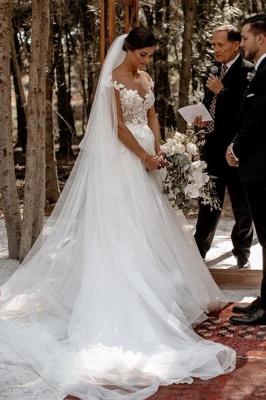 Floor Length White Cap Sleeve Tulle Lace Wedding Dresses_4