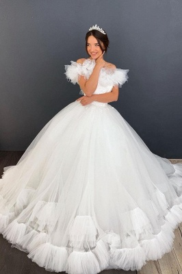 White Off the Shoulder Puffy Tulle Lace Ball Gown Wedding Dresses_1