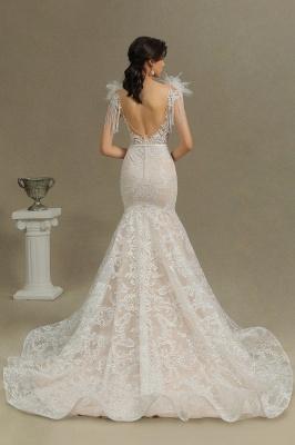 Fur Leather Lace Off Shoulder V-Neck Mermaid Wedding Gowns_7