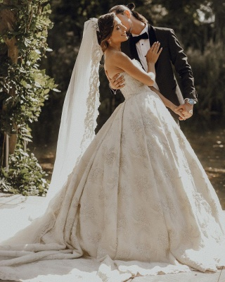 Luxury sweetheart wedding dress A line Wedding dresses lace_3