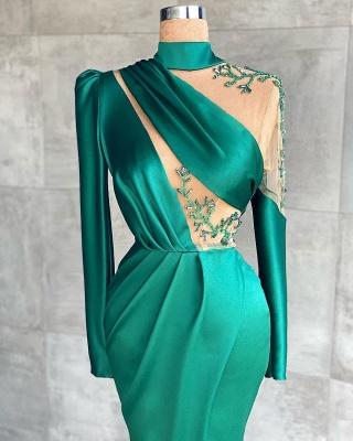 mermaid Prom dresses dark green Evening dresses long with sleeves_2