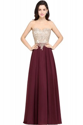 Cheap Sheer Tulle A-line Chiffon Beads Lace Appliques Sleeveless Long Evening Dress in Stock_2