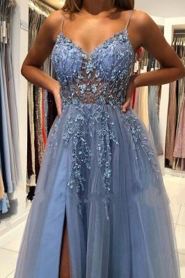 Elegant Spaghetti Straps Royal Blue Prom Dress With Lace Appliques_4