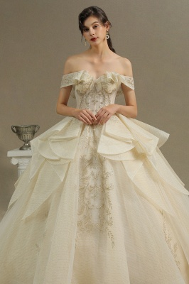 Gorgeous Off-the-Shoulder Ivory Wedding Dresses Floral Appliques Ball Gown Bridal Dress_3