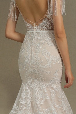 Fur Leather Lace Off Shoulder V-Neck Mermaid Wedding Gowns_8