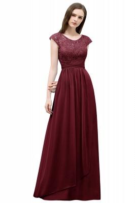 A-line Long Cap Sleeves Lace Top Chiffon Bridesmaid Dress_3