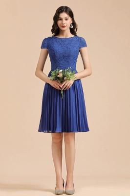 Royal Blue Short Sleeves Knee Length Mini Bridesmaid Dresses_6